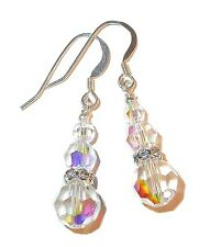 CLEAR AB Crystal Earrings Sterling Silver Swarovski Elements Pierced or Clip-on