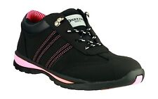 LADIES LEATHER SAFETY WORK BOOT TRAINERS BLACK PINK AMBLERS STEEL TOE CAP FAB763