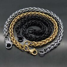 MENS 6MM Silver, Gold, Black Tone Stainless Steel Wheat Braided Chain Bracelet