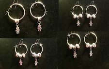 Little Boy Hoop Earring with Charm & Crystal Beads