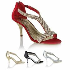 Ladies Stylish Wedding Evening Prom Party Shoes High Heel Diamante Sandals