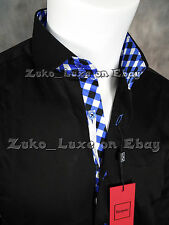 Mens BESPOKE Dress / Club Shirt Solid Black with Check Trim Pattern Button-up