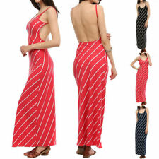 Thin Diagonal Striped Wide Open Back Gorgeous Maxi Dress Full Length Long S M L
