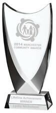 NEW GLASS TROPHY CROSS OVER SHIELD SHAPE Free Engraving