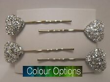 4 x Glittery Love Heart Hair Clips Hair Grips Clips Slides (9 Colour Option)