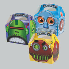 Childrens Kids Robot Birthday Party Box Bag Favour Loot Carry Boxes Food