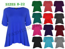 WOMENS SHORT TURN UP SLEEVE BUTTON PLUS SIZE FLARED SWING TOP DRESS SHIRT
