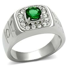 Men's Stainless Steel Round Emerald Green Stone Mens Ring, Sizes 8-13