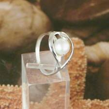 STERLING SILVER FANCY RING WHITE PEARL SOLID .925 /NEW SIZE 5-12 JEWELRY