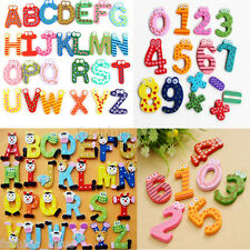 Funky Fun Colourful Wooden Magnetic Numbers Alphabet Letters Fridge Magnet Toys