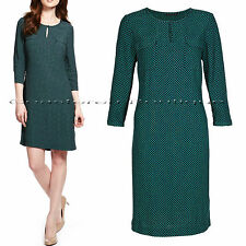 New M&S size 6 - 20 Navy Green Teal Mini Spotted Print Pockets Tunic Dress