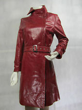 Ladies Women Real Leather Jacket Vintage Red Trench Coat New Biker Rock Long