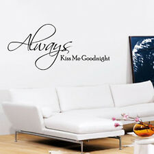 ALWAYS KISS ME GOODNIGHT WALL ART QUOTE STICKER DECAL BEDROOM LOVE ROMANTIC