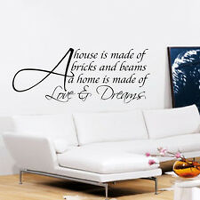 A HOUSE IS MADE OF LOVE AND DREAMS WALL ART QUOTE STICKER DECAL LOUNGE BEDROOM