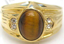 18K GOLD EP CZ OVAL MENS RING TIGER EYE size 8 - 14 you choose