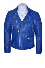 'RECKLESS' Men's Blue Stone Washed Biker Style Motorcycle Real Leather Jacket