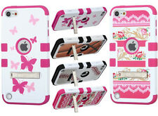 for iPod Touch 5th / 6th Gen - Kickstand Hard&Soft Rubber Hybrid Skin Case Cover