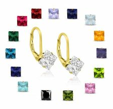 Yellow Gold Plated Sterling Silver 2.00 TCW 5x5mm Square Cut Leverback Earrings
