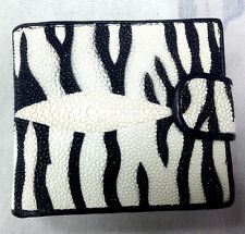 NEW GENUINE STINGRAY LEATHER,BI-FOLD WALLET,COIN PURSE ,ID CARD HOLDER, ZEBRA
