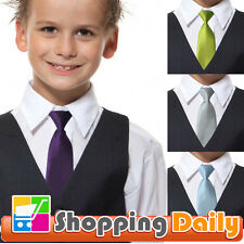 Boy Kids Solid Wedding Color Elastic Tie Necktie