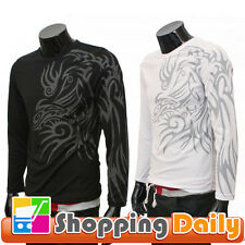 New Mens Slim Fit Dragon Tattoo Printed T-shirt Casual Long Sleeve Tees