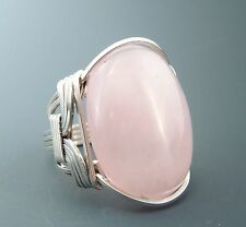 Large Handcrafted Sterling Silver Rose Quartz Cabochon Wire Wrapped Ring