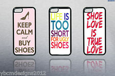 LADIES IPHONE 4,5,5S SAMSUNG S3 S4 RUBBER PHONE CASE COVER WITH SHOE SLOGANS