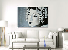 LARGE FRAMED CANVAS WALL ART PRINT JAPANESE PAINTING WHITE GREY GEISHA PICTURE