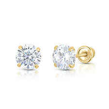 14K Yellow Gold Round Solitaire Basket Stud Earrings with Screw-backs -2.5 - 7mm
