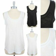 Semi Sheer Knit Tank Top with Sheer Chiffon Yoke Upper Body Sleeveless S M L
