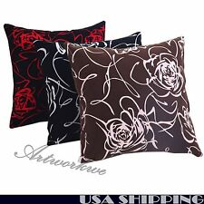 """18"""" Square New Rose Floral Decorative Throw Sofa Pillow Case Cushion Cover"""