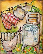 Laundry Day Goose Quilt  Frog Wringer Washer Country Flowers  Wall Art Print