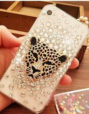 3D Bling Crystal Rhinestone Gold Leopard Head Transparent Hard iPhone Case Cover