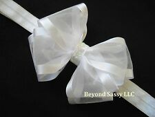 Baby Girls Baptism Christening Easter White Ivory Organza Hair Bow Headband Clip