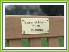 "4 x 2"" ENGRAVED POLISHED BRASS BENCH PET MEMORIAL PLAQUE SIGN"