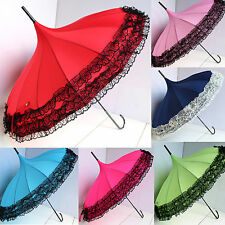 New Windproof Pagoda Long Umbrella Lace Ruffle Sun Rain Parasol 5Colors