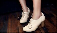 Women's Oxford Round Toe Lace Up Mid Thick High Heels Spring Autumn Dress Shoes