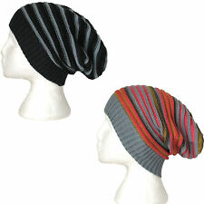 SLOUCH BEANIE STRIPE HIPPIE FESTIVAL HAT Mens Womens BLUE/GREY or PINK/GREY