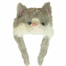 FURRY CAT ANIMAL FACE HAT WITH EAR FLAPS & FLEECE LINING