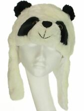 FAUX FUR PANDA BEAR ANIMAL FACE HAT WITH EAR FLAPS & FLEECE LINING