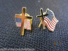 1 Pin - Cross and American Flag Lapel Pin of your choice - Christian - Jesus