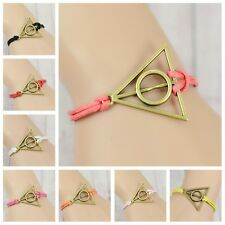 5PCS Handmade Harry Potter Copper Tone Deathly Hallows Pendant Flexible Bracelet