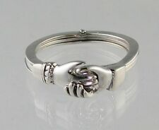 New Sterling Silver Gimmel RING Opens-Closes with Claddagh Hands Size 9