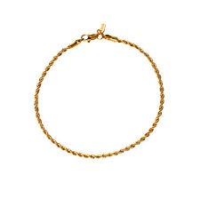 18 KT Gold Overlay Rope Chain Anklet / Ankle Bracelet - Lifetime Warranty