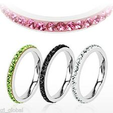 Stainless Steel Skinny Thin Stackable Ring with CZs Around the Band