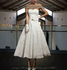 New Short Lace Tea Length Vintage Wedding Dresses Stock Size UK6 8 10 12 14 16