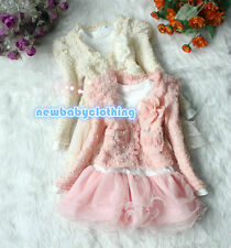 2pcs Spring Fall Baby Girl Clothes Sweet Lace Flower Pearl Dress Outfits 1-4Y