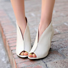 NEW Women's High Wedge Heels Peep Toe Pumps Faux Leather Sandal Shoes Plus Size