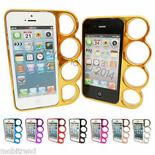 KNUCKLE DUSTER BUMPER BRASS CHROME PHONE CASE FOR APPLE IPHONE 4  4s  5  5s