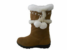 Genuine Sheepskin Lady Fashion UGG Boots Pom-Pom on Side Chestnut Colour